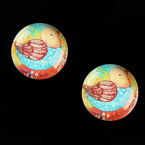 "Cabochon sticla 18mm ""Little Birdie"" cod 659"