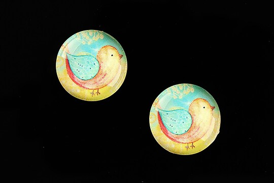 "Cabochon sticla 18mm ""Little Birdie"" cod 661"