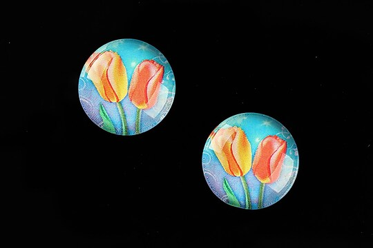 "Cabochon sticla 18mm ""Spring Flowers"" cod 662"