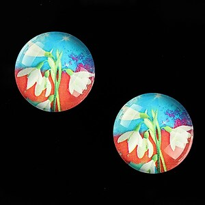 "Cabochon sticla 18mm ""Spring Flowers"" cod 663"