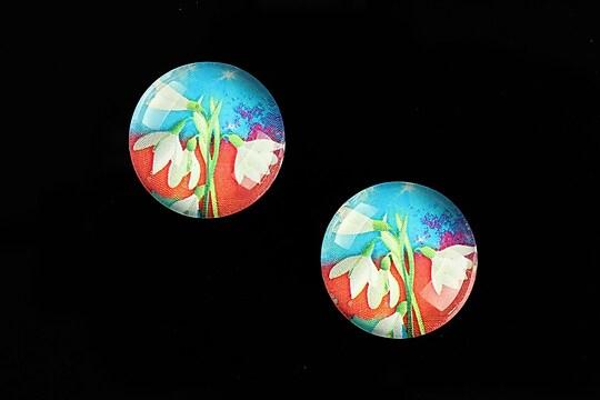 "Cabochon sticla 18mm ""Spring Flowers"" cod 663"