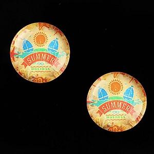 "Cabochon sticla 18mm ""Summer Love"" cod 675"