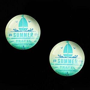 "Cabochon sticla 18mm ""Summer Love"" cod 676"