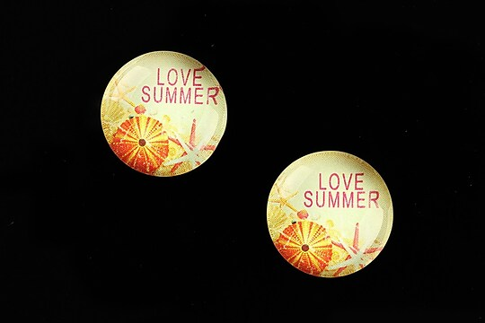 "Cabochon sticla 18mm ""Summer Love"" cod 677"
