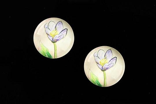 """Cabochon sticla 18mm """"Delicate Flower"""" cod 679"""