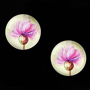 """Cabochon sticla 18mm """"Delicate Flower"""" cod 680"""