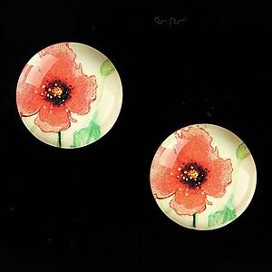 """Cabochon sticla 18mm """"Delicate Flower"""" cod 685"""