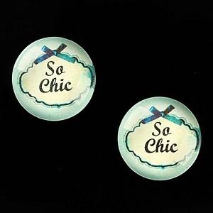 "Cabochon sticla 18mm ""Blue Chic"" cod 686"