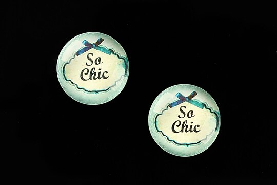 "Cabochon sticla 18mm ""Blue Chic"" cod 686"