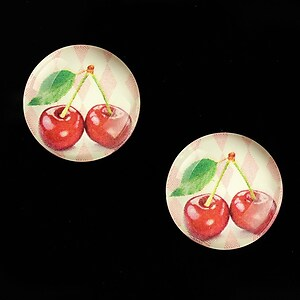 "Cabochon sticla 18mm ""Sweet as a Cherry"" cod 693"