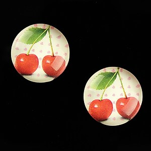 "Cabochon sticla 18mm ""Sweet as a Cherry"" cod 694"