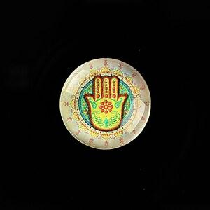 """Cabochon sticla 20mm """"Colorful Hamsa"""" cod 708"""