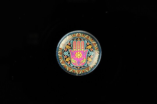 "Cabochon sticla 20mm ""Colorful Hamsa"" cod 711"