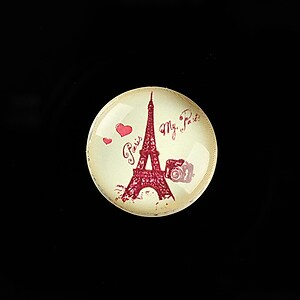 "Cabochon sticla 20mm ""Vintage Paris"" cod 721"