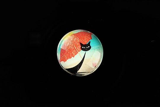 "Cabochon sticla 20mm ""Vacation Cat"" cod 735"