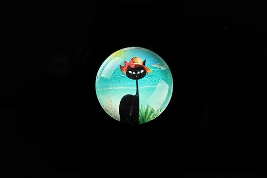 "Cabochon sticla 20mm ""Vacation Cat"" cod 737"