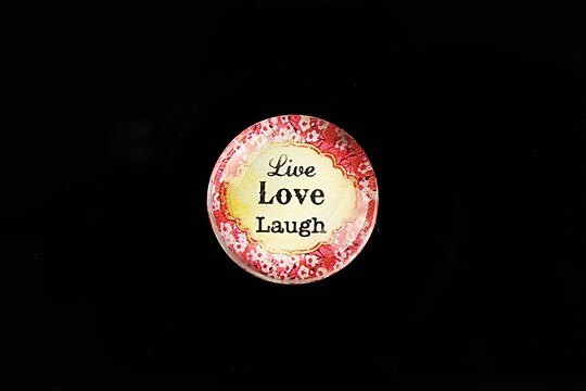 "Cabochon sticla 20mm ""Live, LOVE, Laugh"" cod 752"
