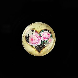 "Cabochon sticla 20mm ""Rose Heart"" cod 761"