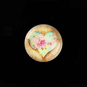 "Cabochon sticla 20mm ""Rose Heart"" cod 762"
