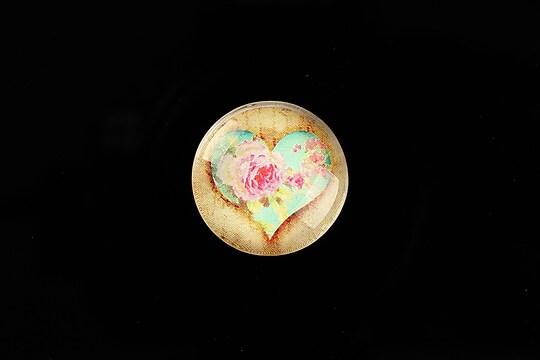"Cabochon sticla 20mm ""Rose Heart"" cod 762"