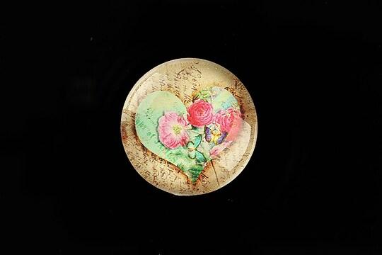 "Cabochon sticla 25mm ""Rose Heart"" cod 777"