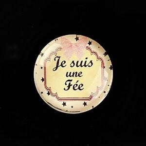 "Cabochon sticla 25mm ""Je suis"" cod 794"