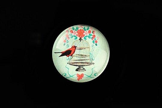 "Cabochon sticla 25mm ""La vie en rose"" cod 803"