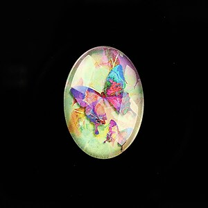 "Cabochon sticla 25x18mm ""Fantasy Butterfly"" cod 811"