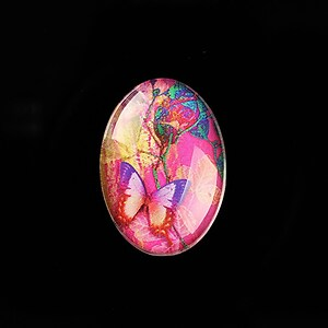 "Cabochon sticla 25x18mm ""Fantasy Butterfly"" cod 812"