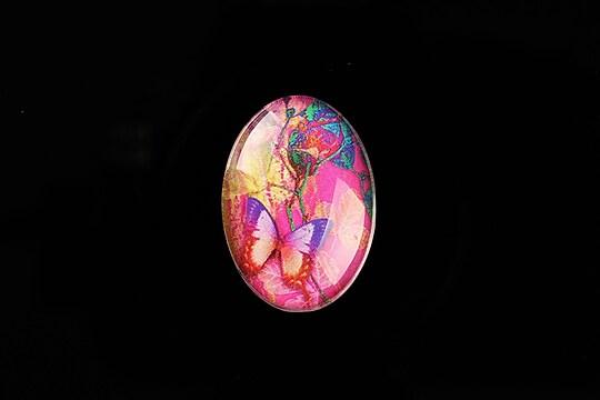 "Cabochon sticla 25x18mm ""Fantasy Butterfly"" cod 812"