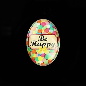 "Cabochon sticla 25x18mm ""Be Happy"" cod 816"