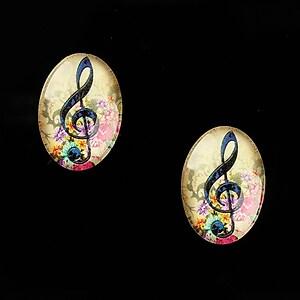 "Cabochon sticla 18x13mm ""Music"" cod 822"