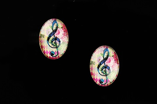"Cabochon sticla 18x13mm ""Music"" cod 823"