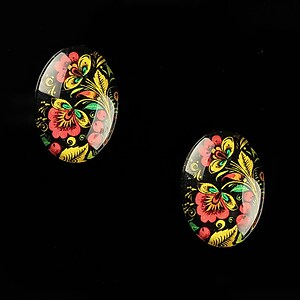 "Cabochon sticla 18x13mm ""Folk Art"" cod 827"
