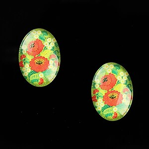 "Cabochon sticla 18x13mm ""Folk Art"" cod 828"
