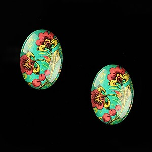 "Cabochon sticla 18x13mm ""Folk Art"" cod 829"
