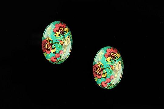 "Cabochon sticla 18x13mm ""Folk Art"" cod 829"