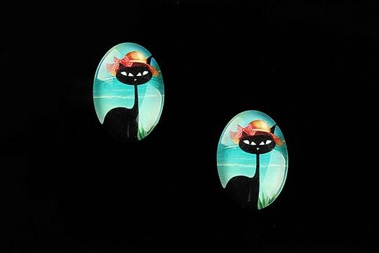 "Cabochon sticla 18x13mm ""Vacation Cat"" cod 830"