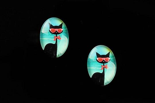 "Cabochon sticla 18x13mm ""Vacation Cat"" cod 831"
