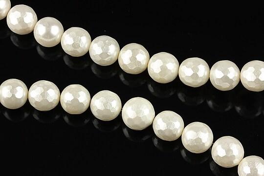 Perle tip Mallorca albe sfere fatetate 8mm