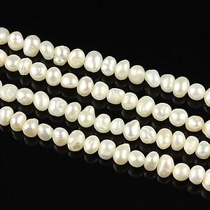 Sirag perle de cultura aprox. 4mm, albe