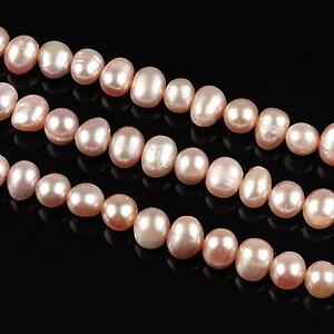 Sirag perle de cultura aprox. 5mm, roz cu irizatii