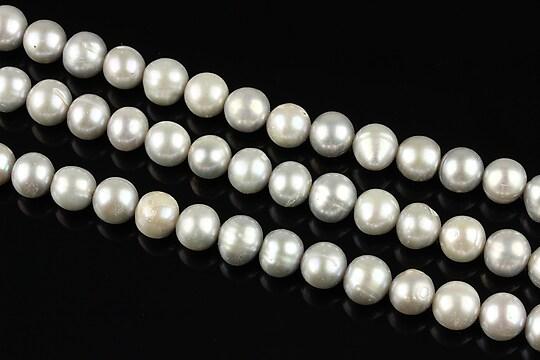 Sirag perle de cultura rotunde aprox. 6mm, gri cu irizatii