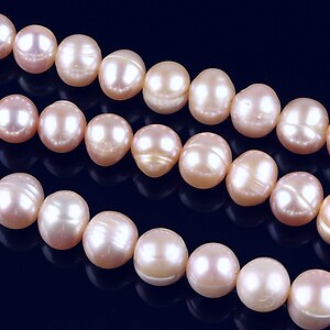 Sirag perle de cultura rotunde aprox. 8mm, roz cu irizatii