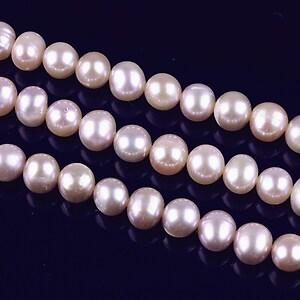 Sirag perle de cultura rotunde aprox. 6mm, roz cu irizatii