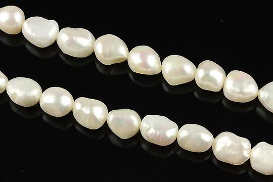Sirag perle de cultura aprox. 9x6mm, albe