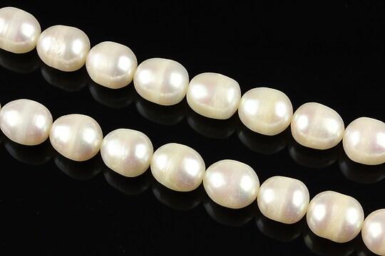 Sirag perle de cultura aprox. 9x8mm, albe