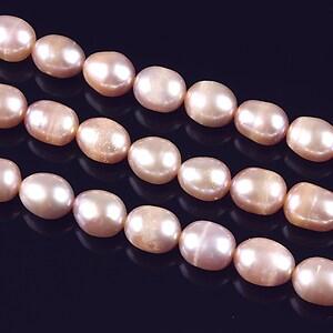 Sirag perle de cultura bob de orez aprox. 7x6mm, roz