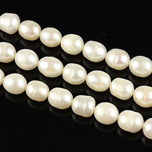Sirag perle de cultura bob de orez aprox. 7x6mm, albe