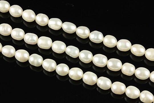 Sirag perle de cultura bob de orez aprox. 6x5mm, albe